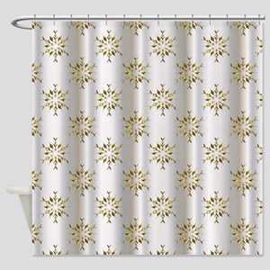 Gold Christmas Stars On Silver Shower Curtain